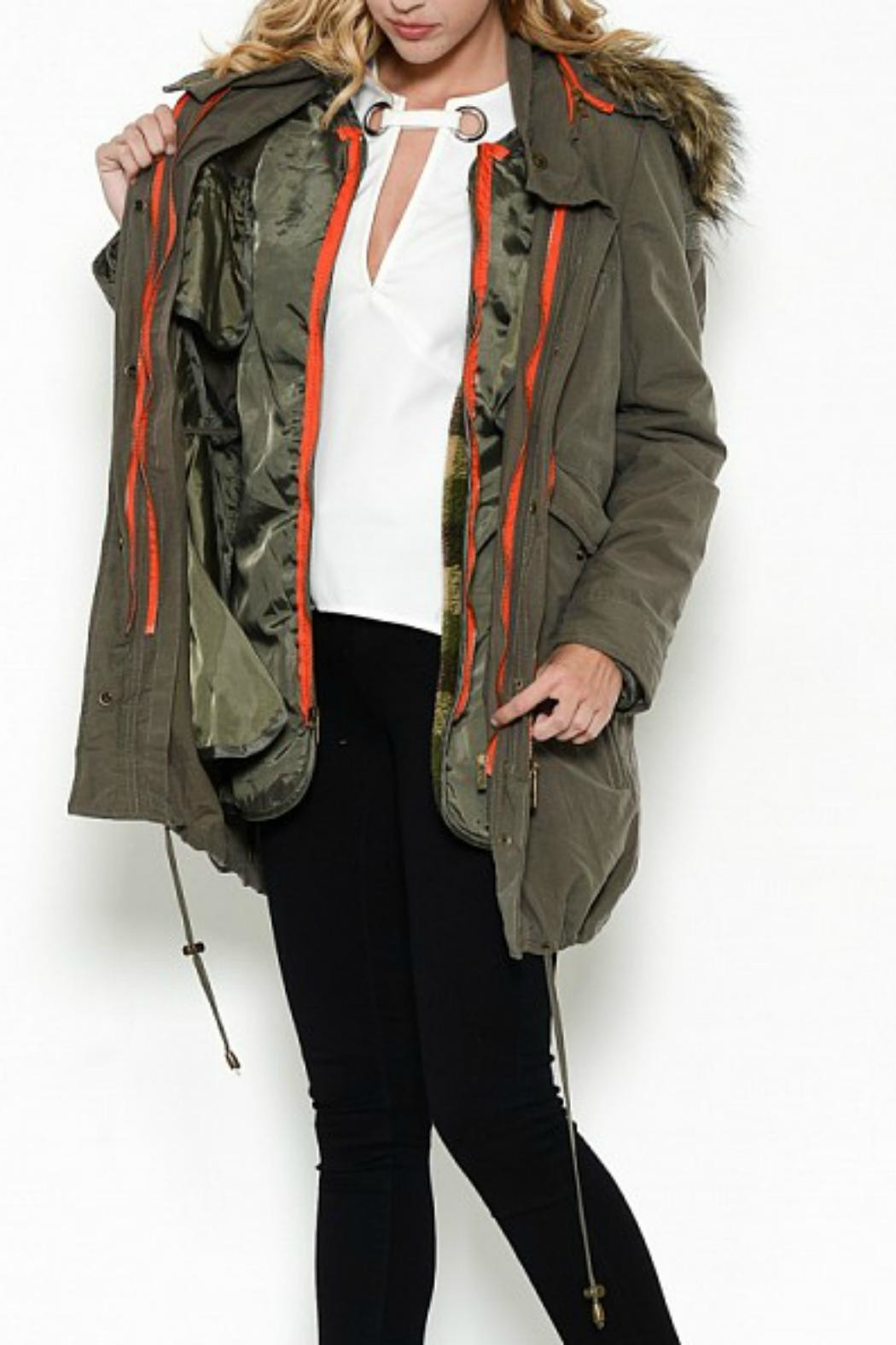 Esley Collection Olive Cargo Parka - Front Full Image