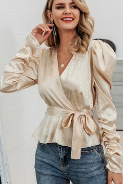 Esley Collection Champagne Leopard Wrap Blouse - Product List Image