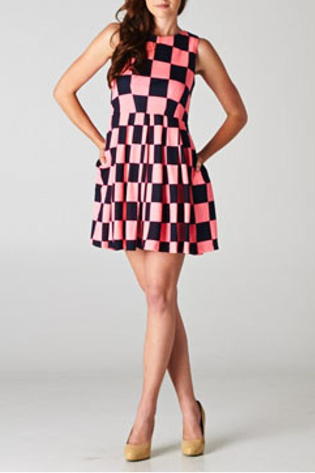 Esley Collection Checkerboard Dress - Front Cropped Image