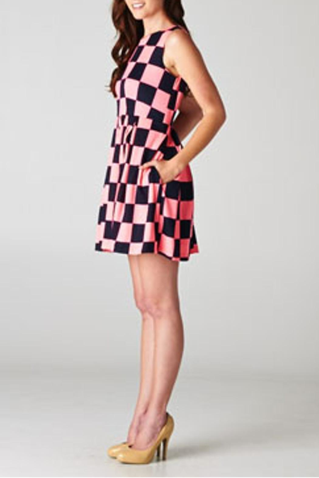 Esley Collection Checkerboard Dress - Front Full Image