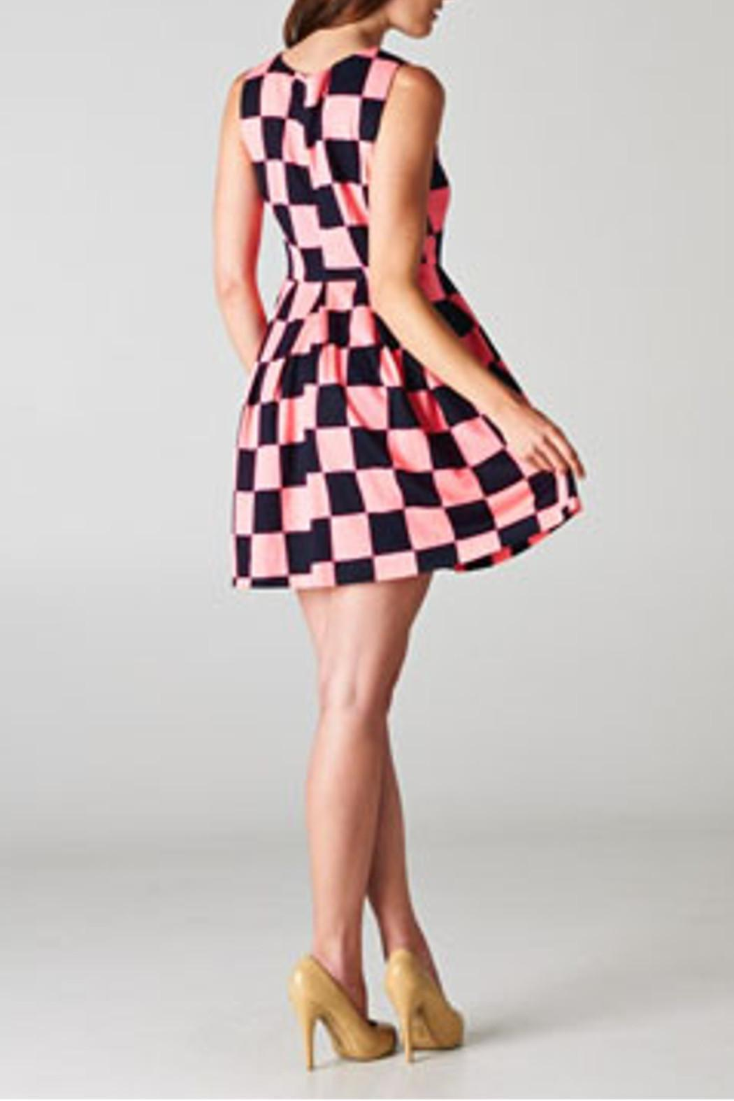 Esley Collection Checkerboard Dress - Side Cropped Image