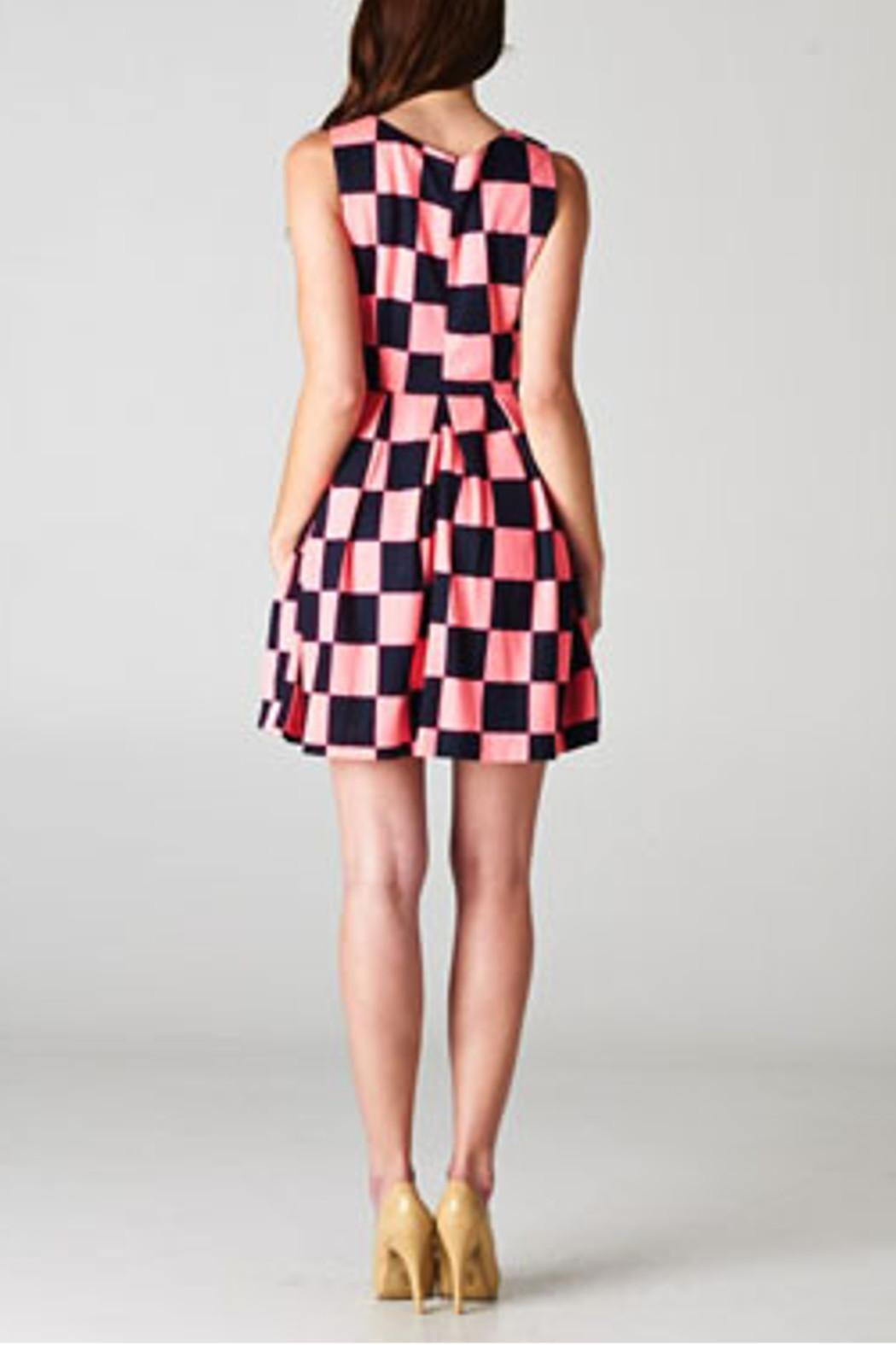 Esley Collection Checkerboard Dress - Back Cropped Image