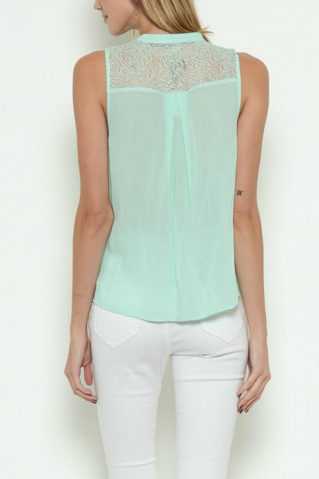 Esley Collection Crossover Mock-Neck Top - Side Cropped Image