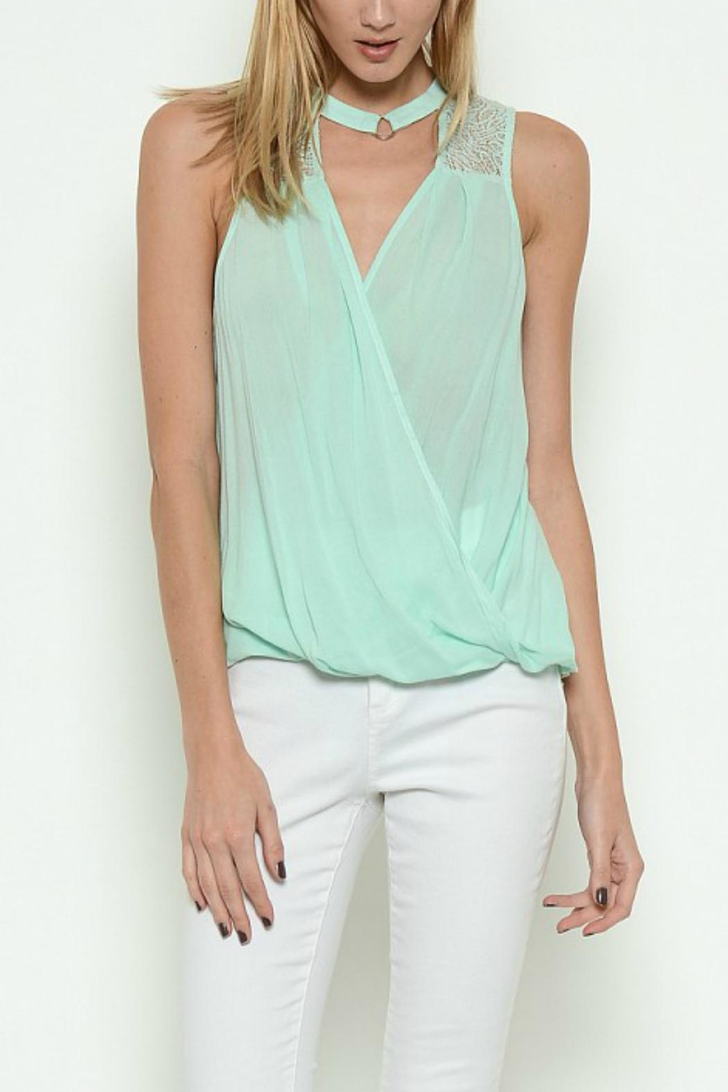 Esley Collection Crossover Mock-Neck Top - Main Image