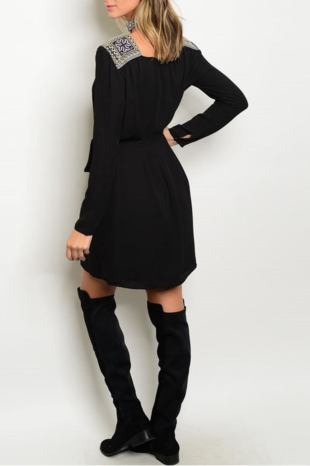 Esley Collection Embroidered Black Dress - Front Full Image