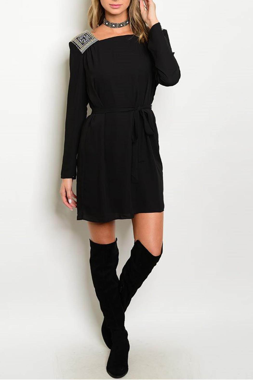 Esley Collection Embroidered Black Dress - Main Image