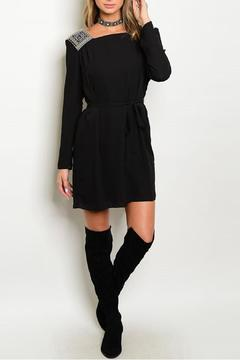 Esley Collection Embroidered Black Dress - Product List Image