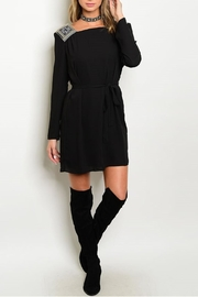Esley Collection Embroidered Black Dress - Front cropped