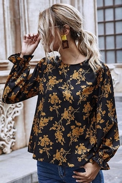 Esley Collection Fall Golden Floral Blouse - Alternate List Image