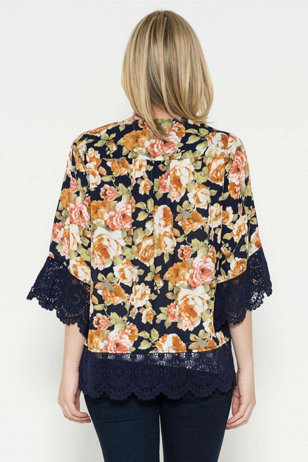 Esley Collection Floral Print Cardigan - Front Full Image