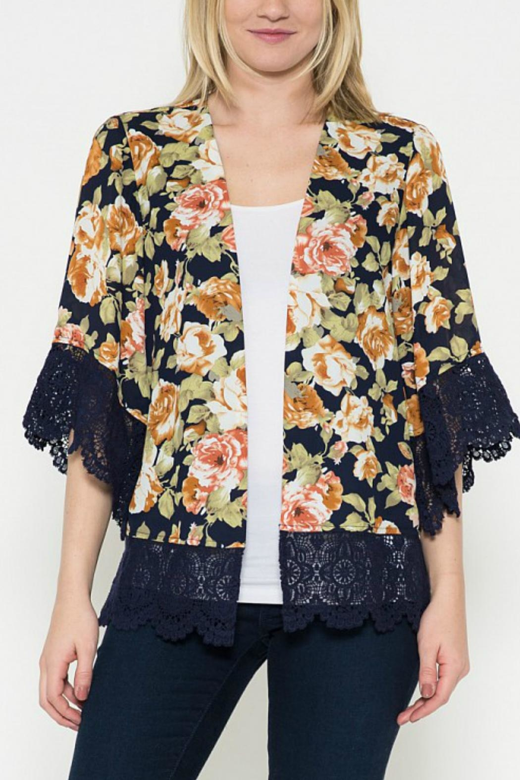 Esley Collection Floral Print Cardigan - Main Image