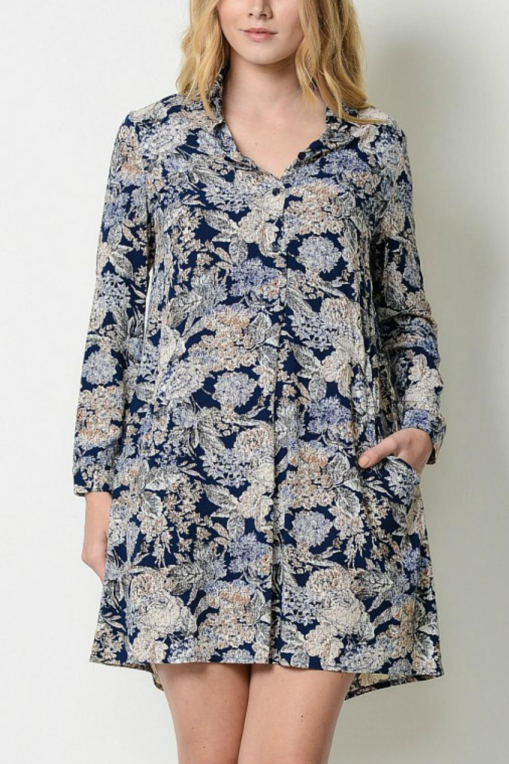 Esley Collection Floral Shirt Dress - Main Image