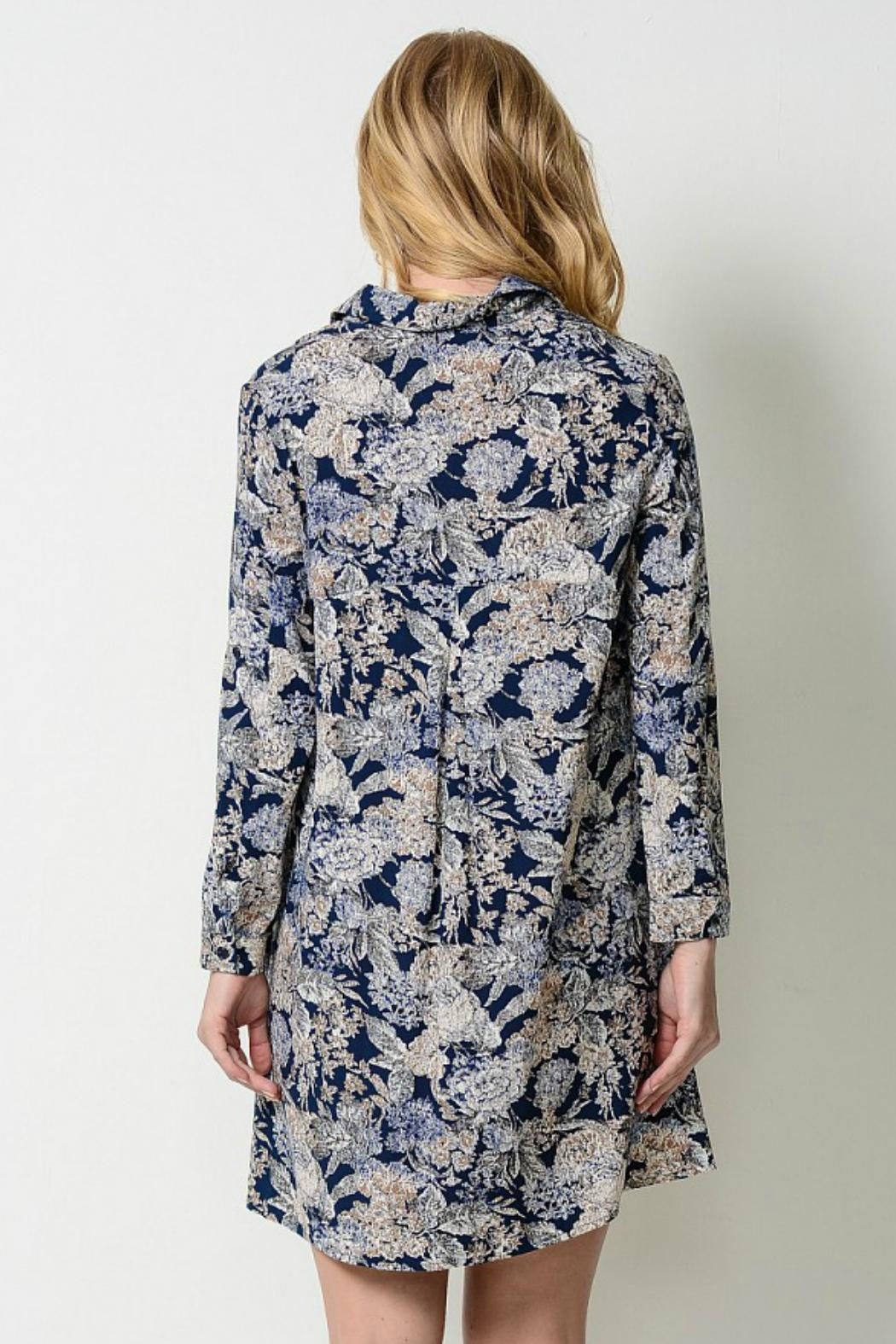 Esley Collection Floral Shirt Dress - Front Full Image