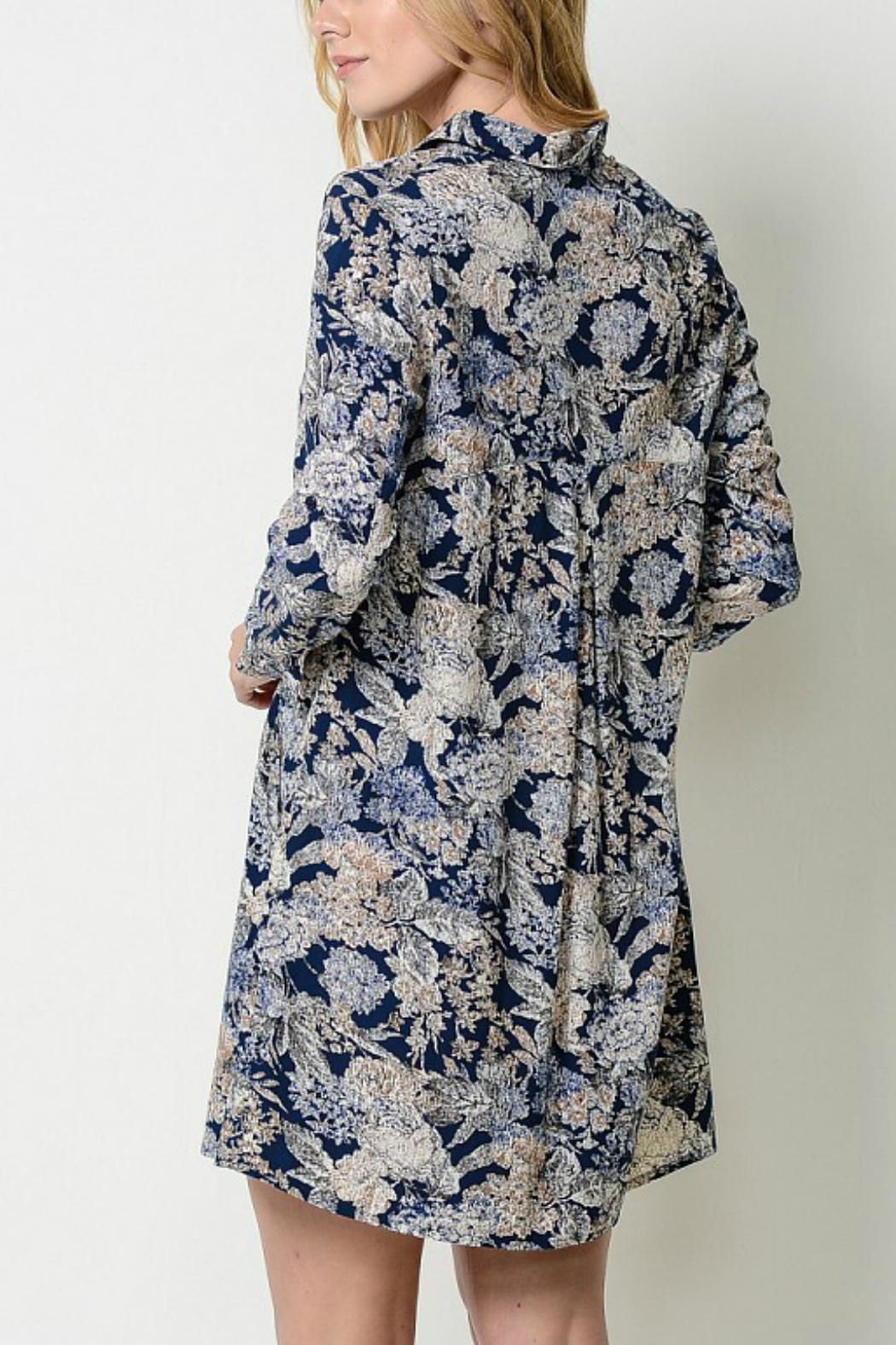 Esley Collection Floral Shirt Dress - Side Cropped Image