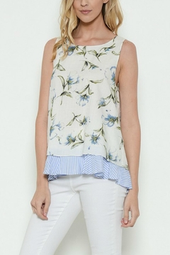 Esley Collection Floral Stripe Tank Top - Product List Image