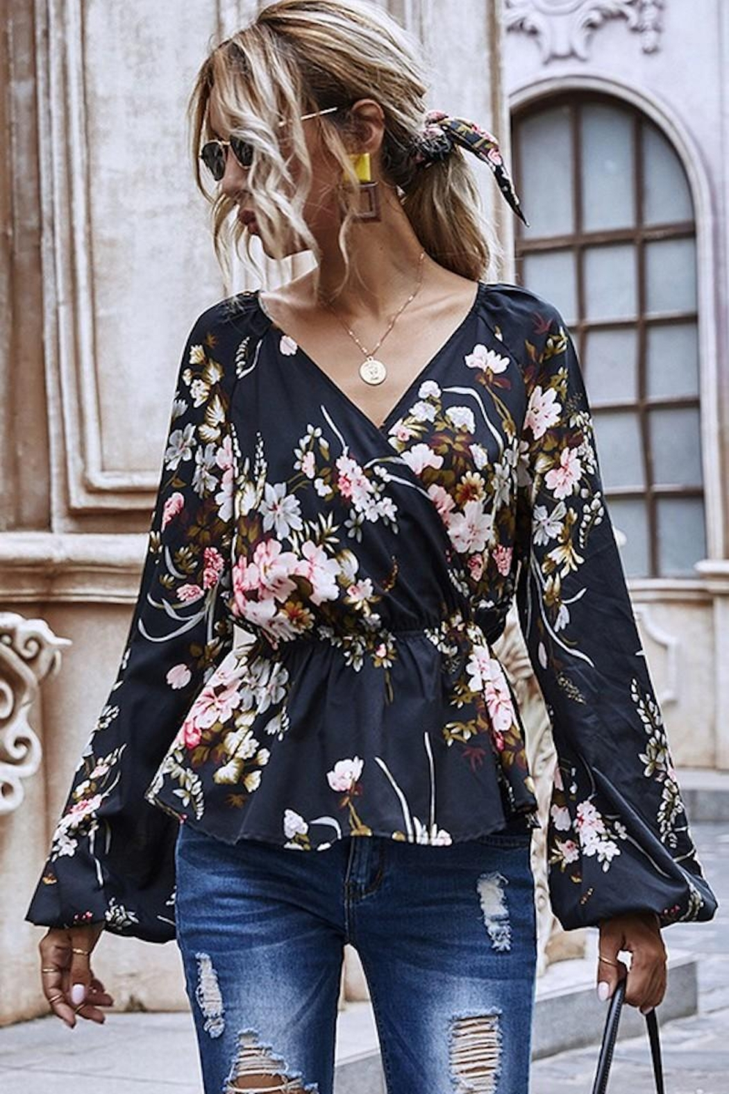 Esley Collection Heavenly Fall Floral Blouse - Main Image