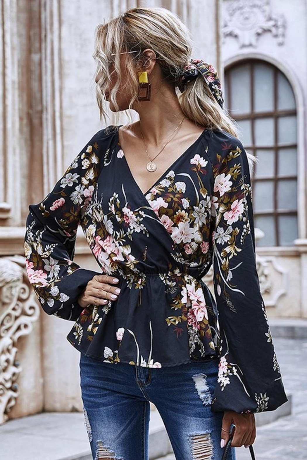 Esley Collection Heavenly Fall Floral Blouse - Front Full Image