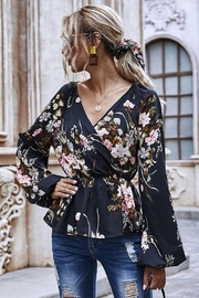 Esley Collection Heavenly Fall Floral Blouse - Front full body