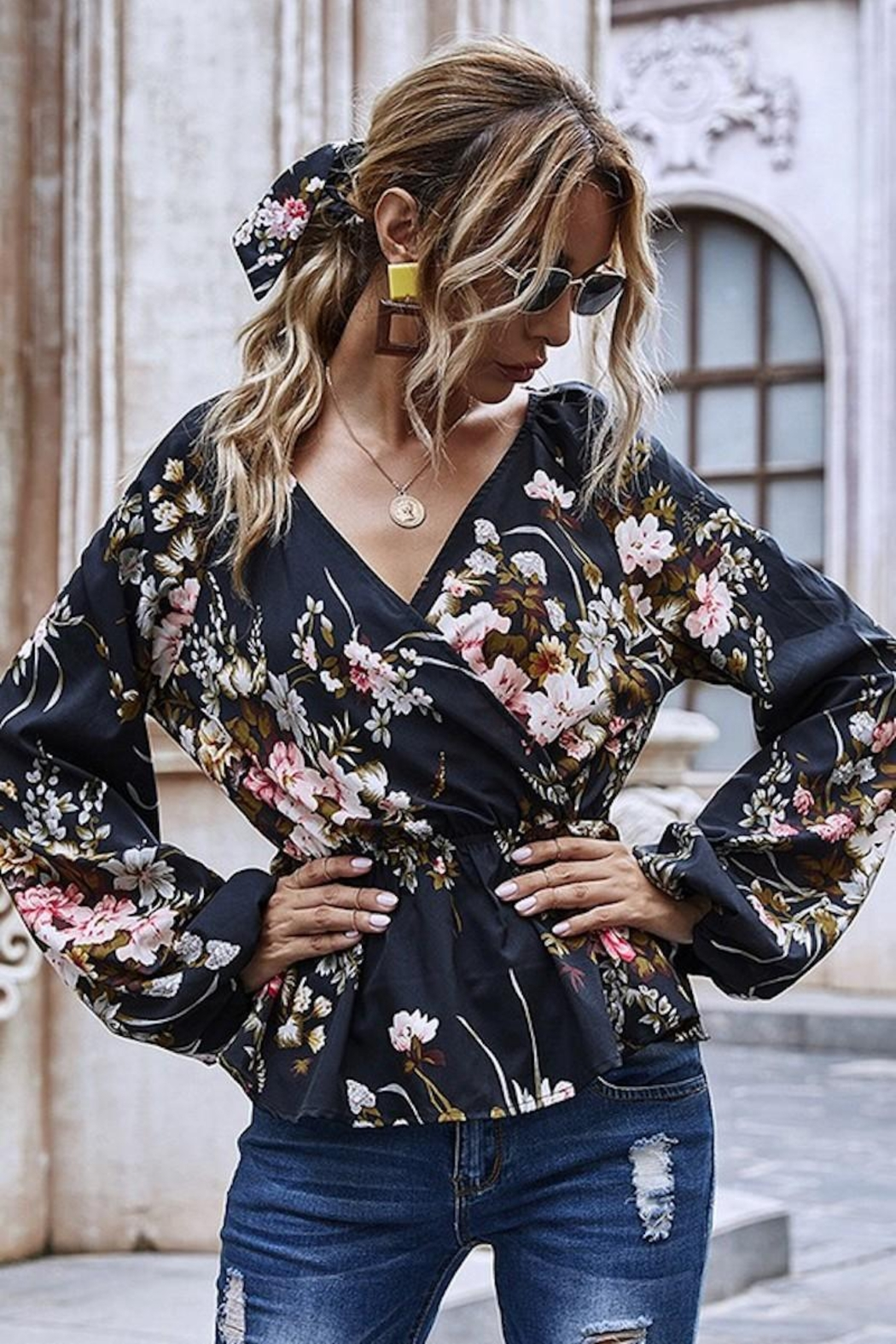 Esley Collection Heavenly Fall Floral Blouse - Back Cropped Image