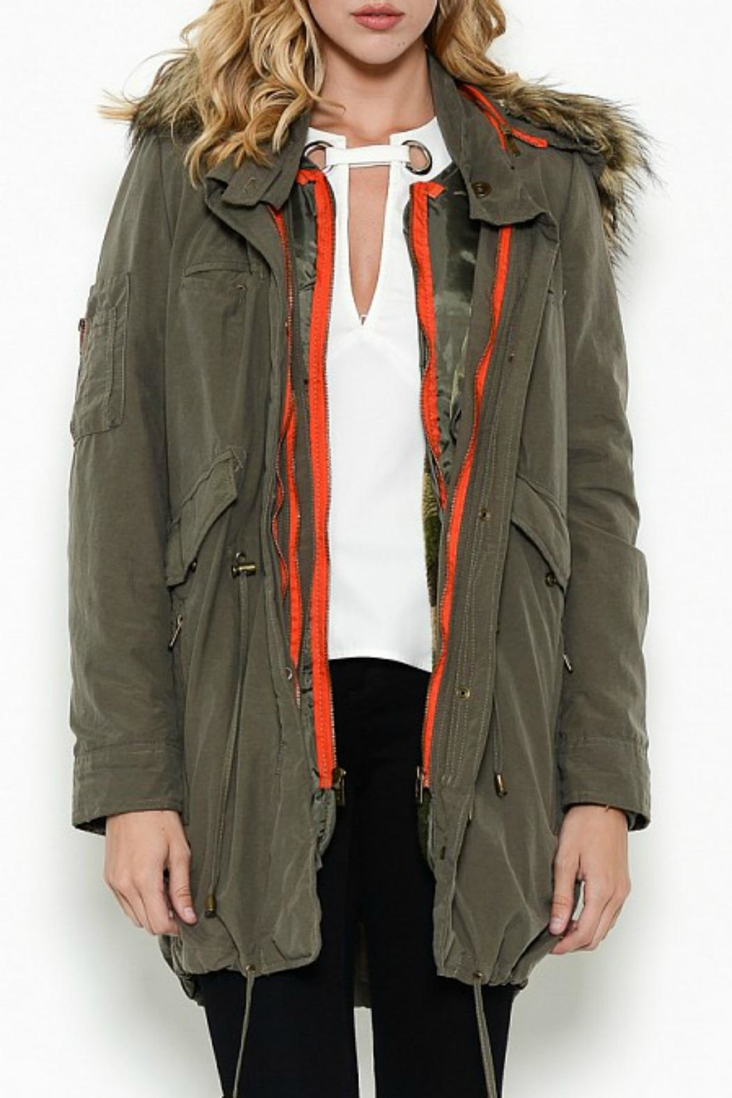 Esley Collection Hooded Cargo Parka - Side Cropped Image