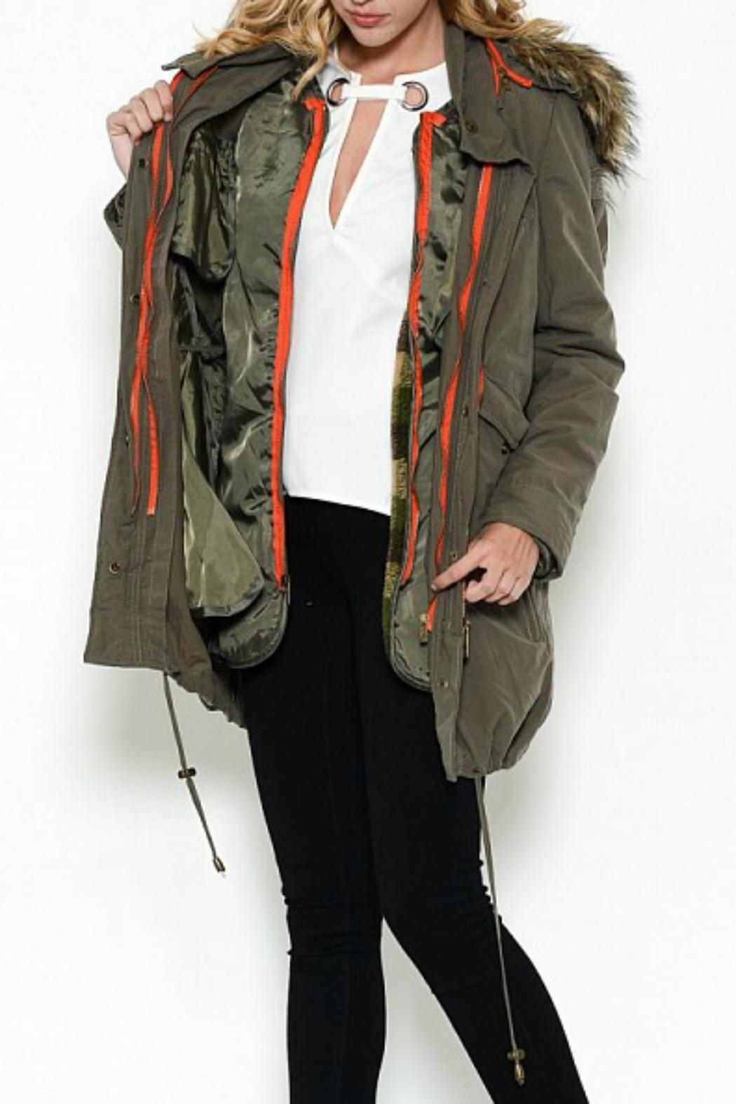 Esley Collection Hooded Cargo Parka - Front Cropped Image