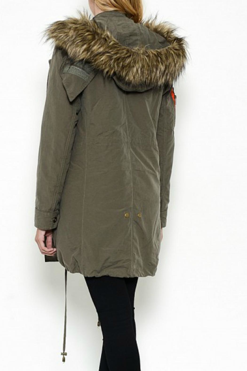 Esley Collection Hooded Cargo Parka - Back Cropped Image