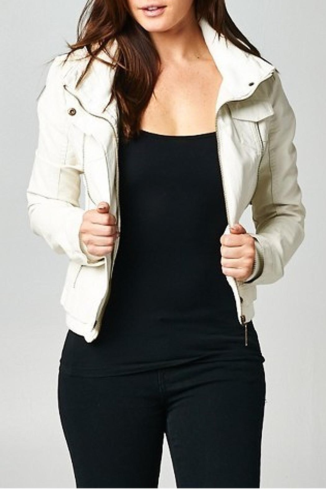 Esley Collection Ivory Moto Jacket - Main Image