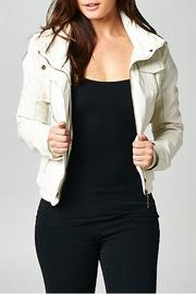 Esley Collection Ivory Moto Jacket - Front cropped