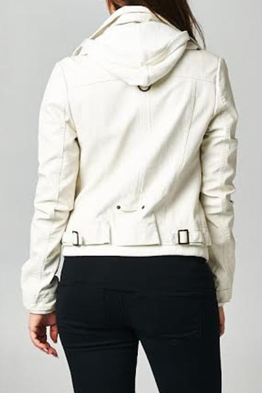 Esley Collection Ivory Moto Jacket - Front Full Image