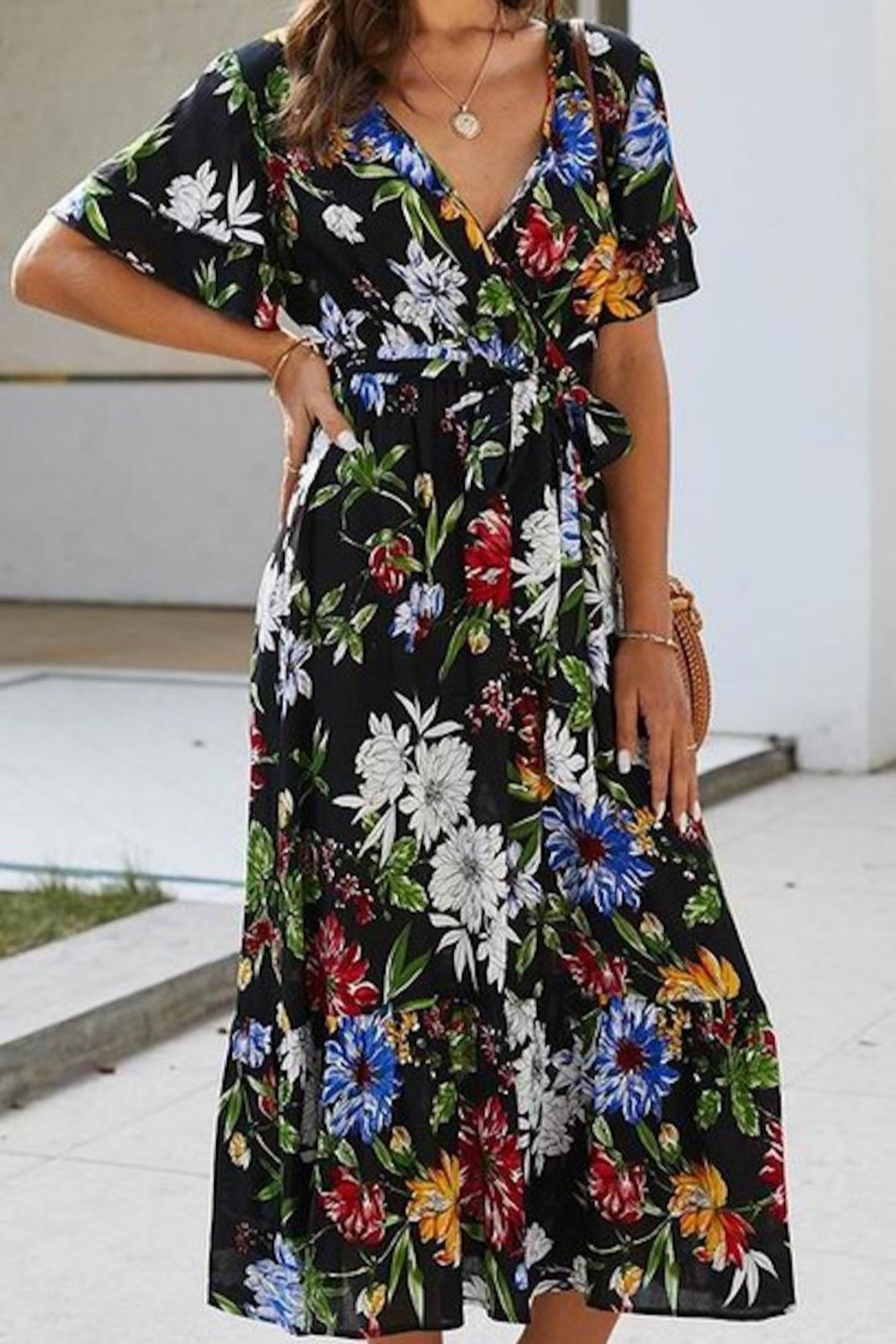 Esley Collection Karla's Black Floral Maxi - Side Cropped Image