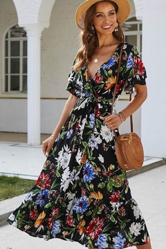 Esley Collection Karla's Black Floral Maxi - Product List Image