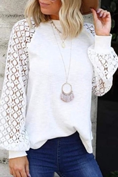 Esley Collection Lace Sleeve Top - Product List Image