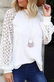 Esley Collection Lace Sleeve Top - Product Mini Image
