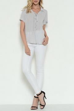 Shoptiques Product: Lace Up Collard Shirt