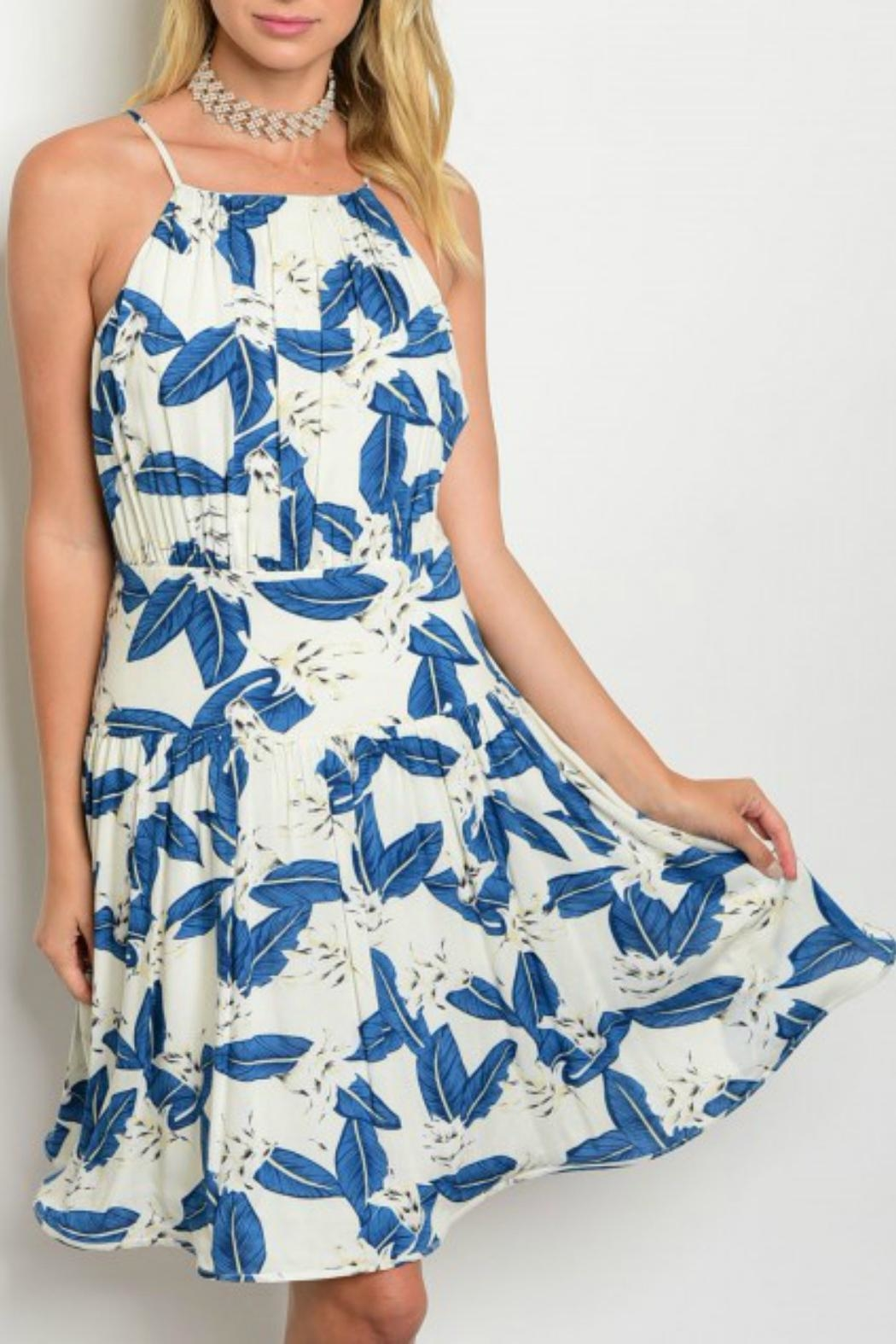 Esley Collection Leaf Print Dress - Front Cropped Image