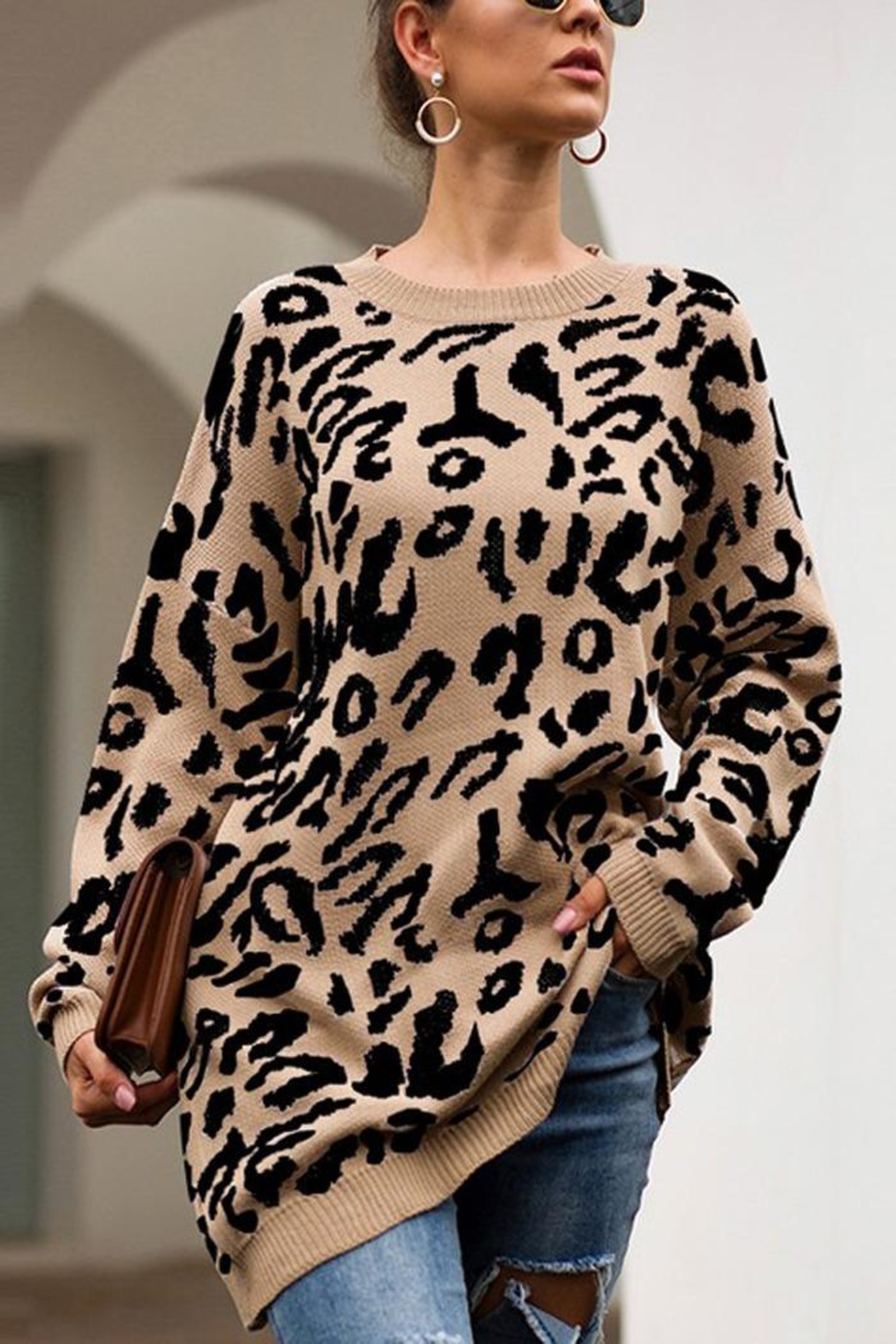 Esley Collection Leopard Over-Sized Sweater - Main Image