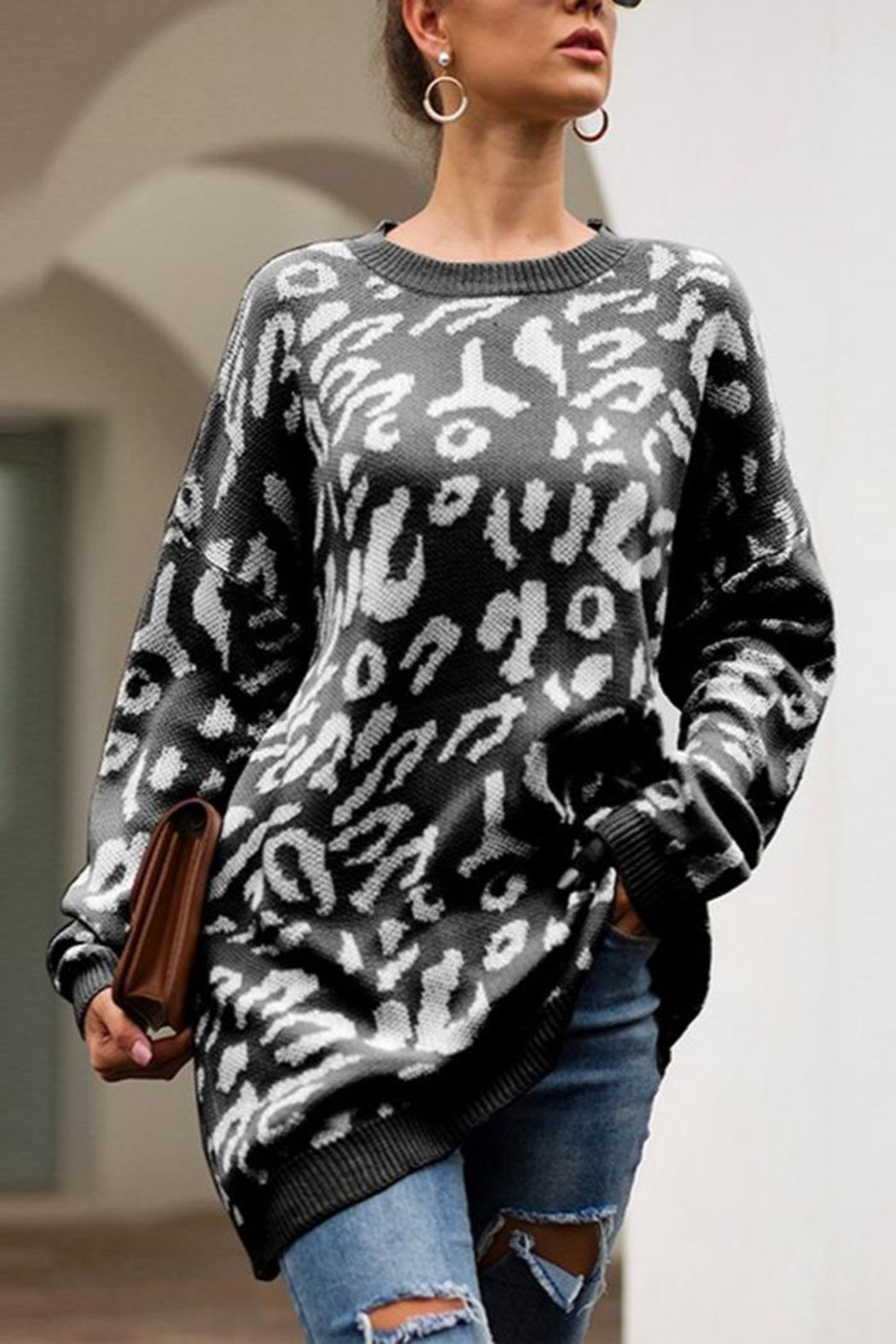 Esley Collection Leopard Over-Sized Sweater - Front Cropped Image