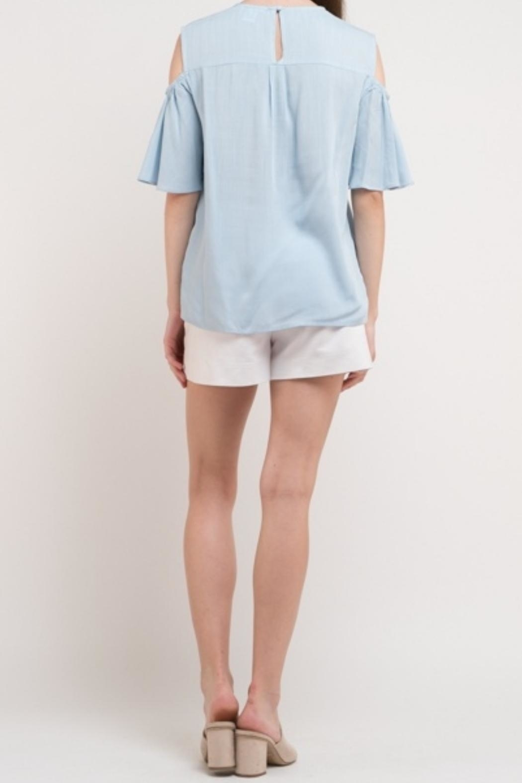 Esley Collection Linen Blue Top - Front Full Image