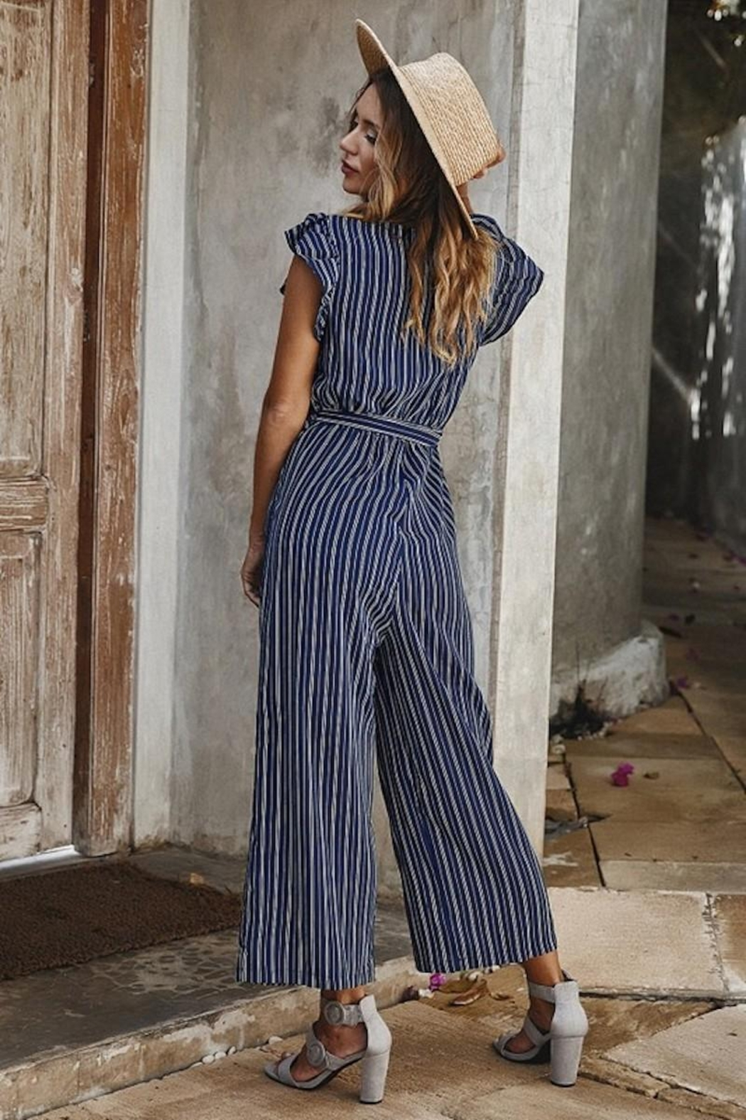 Esley Collection Lovely Navy Jumpsuit - Front Full Image