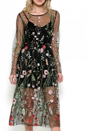 Esley Collection Bohemian Mesh Embroidered Dress - Product Mini Image