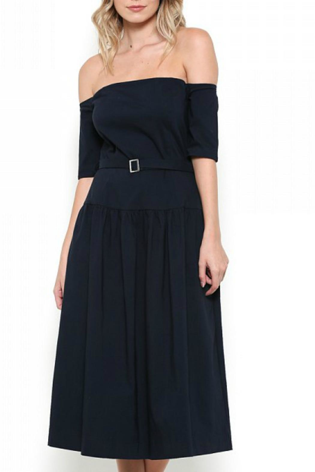 Esley Collection Off Shoulder Midi Dress - Front Cropped Image