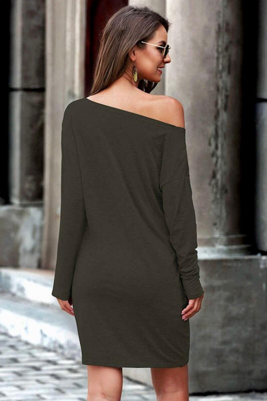 Esley Collection Olive Tunic Dress - Front Full Image