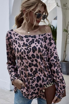 Esley Collection Pink Leopard Top - Product List Image