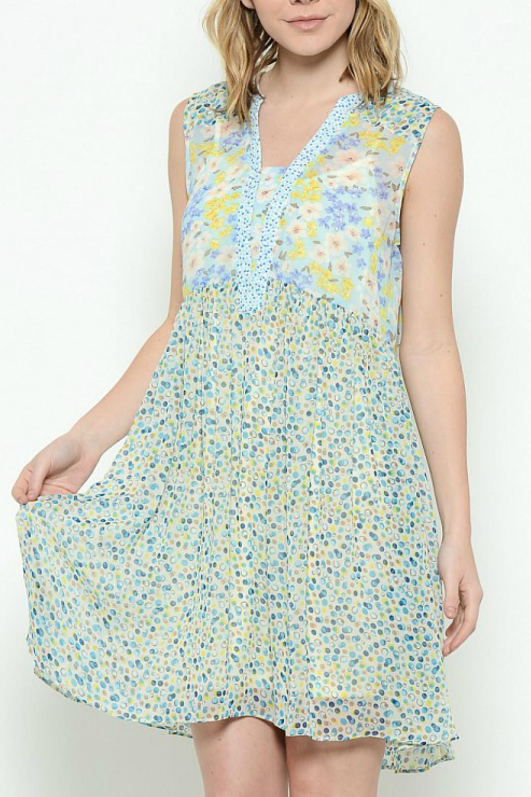 Esley Collection Print Patch Work Dress - Main Image