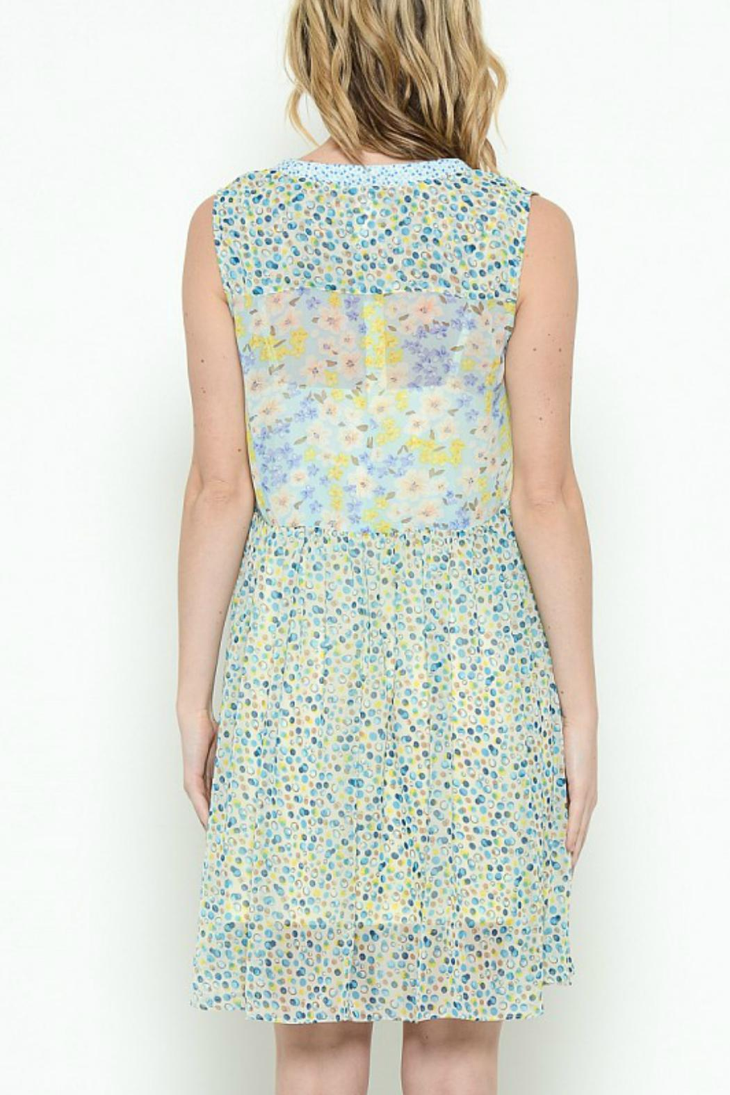 Esley Collection Print Patch Work Dress - Front Full Image