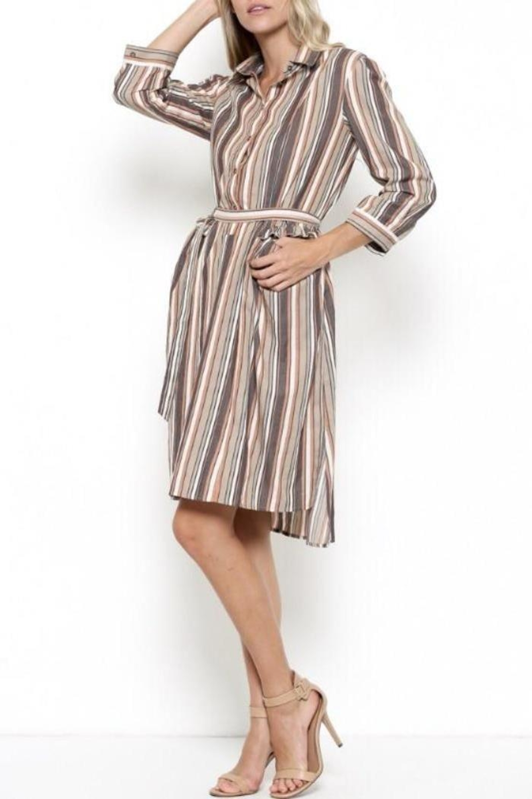 Esley Collection Ruffle Stripe Dress - Main Image