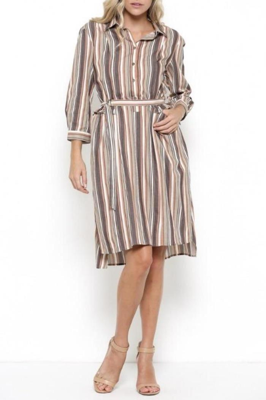 Esley Collection Ruffle Stripe Dress - Side Cropped Image