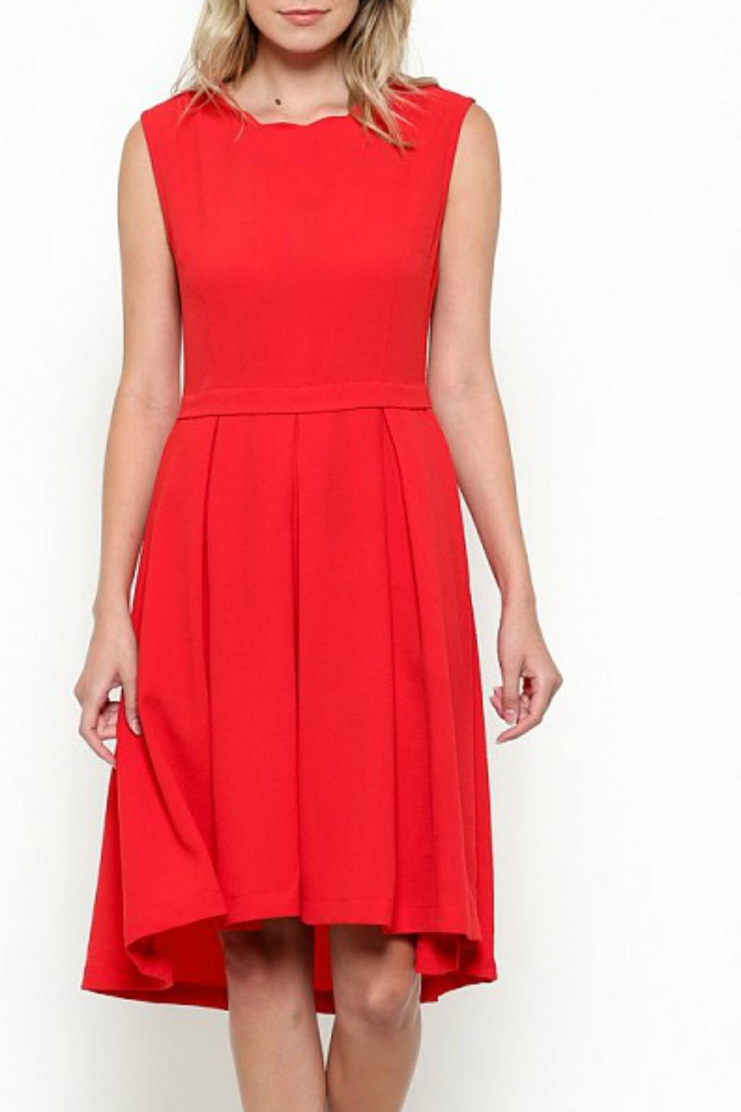 Esley Collection Scallop Neckline Dress - Front Cropped Image
