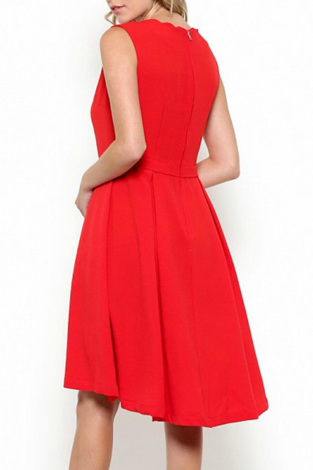 Esley Collection Scallop Neckline Dress - Back Cropped Image