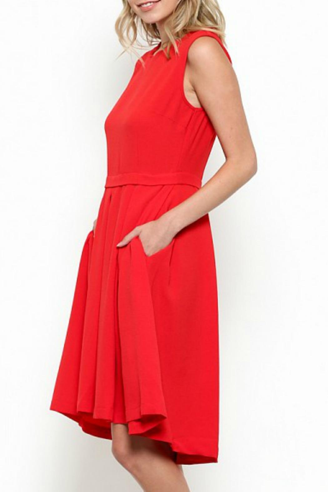 Esley Collection Scallop Neckline Dress - Side Cropped Image